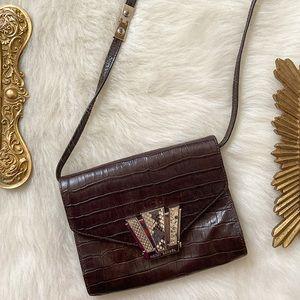 Henri Bendel Croc Embossed Leather Crossbody Bag